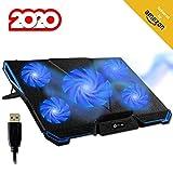 KLIM Cyclone - Laptop Kühler + Ständer + Maximale Kühlung + Verhindere Überhitzung + Schütze Dein Laptop + 5 Lüfter 2200 & 1200 RPM + Cooling Pad für Computer PS4 Xbox One + Blau Neue 2020 Version