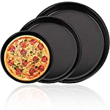 Pizzablech Rund, BESTZY 3er Set Antihaft Pizzabackblech Pizza-Backblech Pizzaform Rund Kuchenblech Backblech Pizza Backset, Pizzableche Set Ø 16,7/18,1/20,4 cm, für Pizza