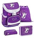 Belmil ergonomischer Schulranzen Set 4 -teilig für Mädchen 1, 2 Klasse Grundschule/Super Leicht 750-800 g/Brustgurt/Einhorn, Unicorn/Lila, Purple (405-33 You Are Magical)
