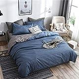 Boqingzhu Bettwäsche 220×240cm Blau Grau Anthrazit Wende Bettwäsche Set Uni 3 TLG. Microfaser Doppelbett Bettdeckenbezug mit Reißverschluss und Kissenbezug 80x80cm