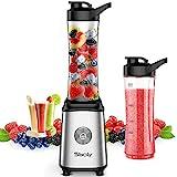 Mixer Smoothie Maker,Sboly Standmixer für Milchshakes und Juice Shakes, Blender elektrisch, Kleiner Mixer mit 2 Tritan BPA-Freien 600ml Mixbechern und Reinigungsbürste, EU Plug, 350W