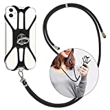 takyu Handykette Universal, Schlüsselband Halsband Verstellbar + Finger Halter zum Umhängen Kompatibel mit iPhone Huawei Samsung Basteln(Elegant Schwarz)