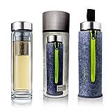 Creano Exklusive Teeflasche Thermo-Teamaker, doppelwandig mit Edelstahlsieb & -deckel in edler Filz-Tasche, Grün (400ml) im hochwertigen Geschenkkarton