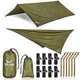 PURE HANG Premium Zeltplane Tarp 3x3 für Hängematte Outdoor Camping 100% Wasserdicht mit Ösen Sonnensegel Strand Ultra-Leicht Sonnenschutz UV Schutz Regenschutz