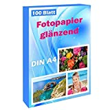 100 Blatt Photopapier A4 hoch glänzend tintenstrahldrucker 180g/m² fotopapier Fotokarten Photokarten Sofort Trocken Wasserfest Hochweiß fotoblätter