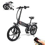 SAMEBIKE Elektro Fahrrad mit Fernbedienung 20 Zoll Aluminium Pro Smart Folding tragbare E-Bike 48V 10AH Lithium-Batterie E-Bike E-Faltrad Schwarz