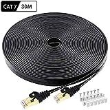CAT 7 Ethernet Kabel 30m, BUSOHE Hochgeschwindigkeits - Gigabit RJ45 LAN Netzwerkkabel, 10Gbps 600Mhz Internet Patchkabel für Switch Router Modem Patch Panel PC (Schwarz)