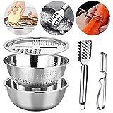 Küchenkäsereibe, 3 in 1 Multifunktions Edelstahl Becken Set mit Edelstahl Abflussbecken und Mandolinen Gemüseschneider Reibe für Küchenfrüchte, Gemüse, Lebensmittel