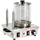 Beeketal 'BHG06c' Profi Gastro Hot Dog Maker mit 2 Heizspießen und 170 mm Korbdurchmesser, Edelstahl Hot Dog Maschine zum erhitzen von Würsten und aufwärmen von Hot Dog Brötchen, Edelstahl Ausführung