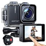 APEMAN Action Cam A100,Echte 4K 50fps WiFi 20MP Touchscreen Unterwasserkamera Digitale wasserdichte 40M Helmkamera (2.4G Fernbedienung, 2x1350mAh verbesserten Batterien)