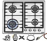 Phönix PS-603T Einbau Gaskochfeld Edelstahl Gaskocher 4 Kochplatten Propan-/ Erdgas inkl. Gasschlauch-Regler Set für Propangasflaschen + Guss WOK Aufsatz + Herdkreuz