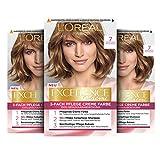 L'Oréal Paris Excellence Creme Permanente Haarfarbe, 100% Grauhaarabdeckung, Haarfärbeset mit Coloration, Shampoo und 3-fach Pflegecreme, 7 Mittelblond, 3 x 268 g