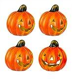 BigDean 4er Set Halloween-Kürbis Windlicht - HxD: ca. 10x11 cm - Zierkürbis als Herbstdeko - Aus Keramik - Mit Öffnung für Teelichter - Mottoparty-Deko