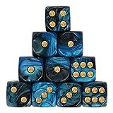 AMhomely 10PC Würfelset sortierten Transparente Farbe mit je 16mm d6 Standardwürfel,Würfel Spielwürfel Spiel Spielezubehör Knobeln Augen Cube transparent bunt (A)