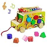 Nachziehspielzeug Holzauto Form Puzzle Sortierer Spielzeug Bus Ziehen Xylophone Holz für Baby Kinder 3 Jahr (Mehrweg)