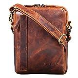 STILORD 'John' Kleine Herrentasche Ledertasche Vintage 8,4 Zoll Tablettasche Umhängetasche Männer Schultertasche mit Reißverschluss Leder, Farbe:Kara - Cognac
