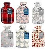 Wärmflasche mit weichem Fleece-Bezug, aus natürlichem Gummi, 2Liter, Britisches Design