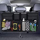 URAQT Kofferraum Organizer Auto, Auto Aufbewahrungstasche, Kofferraumtasche Auto, Wasserdichten Taschen Auto mit Starkes elastisches, Zauberstabstruktur für SUV, Schwarz (1-S)