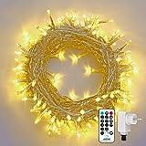 Qedertek 200 LED Weihnachtsbaum Lichterkette, 23M Lichterkette Strombetrieben, Weihnachtsbeleuchtung Außen &Innen, 8 Modi und Timer und Dimmbar mit Fernbedienung, Deko im Garten (Warmweiß)