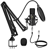 XLR Kondensator Mikrofon, TONOR Professional Nieren Studio XLR Mikrofon Kit mit T20 Mikrofonarm, Mikrofonspinne, Popfilter für Aufnahme, Podcasting, Voice-Over, Streaming, Heimstudio, YouTube (TC20