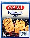 Gazi Halloumi Natur - 5x 250gramm Vakuum - Pfannenkäse Pfanne Grillkäse Grill Ofenkäse Ofen 43% Fett in Vakuumverpackung mit Minze Schnittkäse Käse mikrobielles Lab Halal vegetarisch glutenfrei