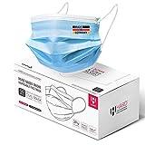 HARD 50 x Medizinischer Mundschutz mit Kupfer TYP IIR OP-Maske Made in Germany, CE zertifiziert EN14683, 99,78% BFE 3-lagig Öko TEX, Einweg-Gesichtsmasken Erwachsene - Blau