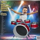 EddyToys Kinder Schlagzeug Trommel Spielzeug Musikinstrument Jazz Drums Rot
