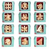ALLESOK 12St. Holz Knobelspiele Set Puzzle 3D Brainteaser Knifflige Rätsel Logikspiele Geduldspiele Adventskalender Inhalt für Kinder und Erwachsene, Anleitung dabei
