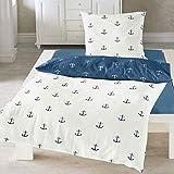 Traumschlaf Seersucker Bettwäsche Anker 1 Bettbezug 135x200 cm + 1 Kissenbezug 80x80 cm