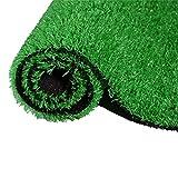 Kunstrasen Teppich für den Innen und Außenbereich, fasloyu Rasenteppic Teppich für Hunde, Garten und Fußmatte, wasserdurchlässig gummierte Unterseite mit Drainagelöchern (100X200cm)