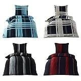 Wasserbetten-Markenshop 4 tlg. Bügelfrei Bettwäsche Microfaser Seersucker mit Reißverschluß 135x200 cm, Design Tim Anthrazit