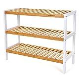 SONGMICS Schuhregal aus Bambus, Badregal mit 3 Ebenen, Schuhschrank, Schuhständer, 70 x 55 x 26 cm (B x H x T), Weiß und Naturfarben LBS03H