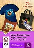 Transferpapier/Bügelpapier/Transferfolie für DUNKLE Textilien/Stoffe von Raimarket   10 Blatt   A4 Inkjet Bügeleisen auf Papier / T-Shirt-Transfers   Textilefolien   DIY Stoffdruck (10)