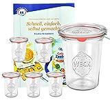 6er Set Original WECK 3/4-Liter Sturzglas, 850 ml, Rundrandglas RR100 + Glasdeckel + Dichtring + Weck-Klammern + GRATIS Rezeptheft, Einmachglas, Einkoch-Set, Einlegen, Einwecken + Konservieren, Glas