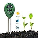 EasyULT Bodentester[1 Stück], 3 in 1 Boden Feuchtigkeit und PH, Lichtintensität Bodentester für Pflanzenerde, Garten, Bauernhof, Rasen(Kein Batterien Erforderlich)-Grün