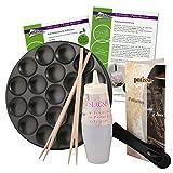 patisse Poffertjes Pfanne-Set mit Rezepten, Teigflasche und Holzstäbchen, Aluminium, Schwarz, 25 cm, 6-Einheiten