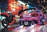 1art1 Autos - Straßenrennen Bei Nacht, 4-Teilig Fototapete Poster-Tapete 360 x 255 cm