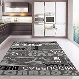 VIMODA Teppich Modern Küchenteppich Küchenläufer Coffee Grau Weiss Schwarz spiegelverkehrt, Maße:60x100 cm