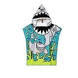 Vston Handtuch für Kinder, aus Baumwolle, mit Kapuze, für Bad, Schwimmen, Strand, Urlaub, weich, leicht, für Jungen und Mädchen. Gr. One Size, Blue/Green-shark