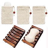 Chefic 2 Stück Seifenschale Holz Dusche mit 3 Stück Seifensäckchen, Handarbeit Seifenhalter Seifenablage aus Holz zu Küche Bad, Sisal Seifensäcke Seifenbeutel mit Kordel für Gesicht Körper - 5 Stück
