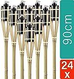 STAR - LINE 24 Gartenfackeln aus Bambus Holz mit Docht - Nachfüllbar - Lange Brenndauer - 90 cm
