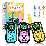 AILUKI 3 Stück Walkie Talkie Kinder Spielzeug 4KM Reichweite Funkgerät 8 Kanäle 10 Klingeltöne mit Taschenlampe LCD Display Schlüsselbänder Ideal für Camping,Einkaufen,Freizeitpark,Zelten,Indoor