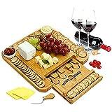 PENGSHAO Käsebrett Set 6 Messern und 2 Keramik| Großes Eichenholz Käseschneidebrett und Servierplatte Tablett | Das Beste für Einweihungsfeiern und Geburtstagsgeschenke