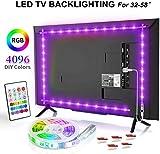 BASON Led TV Hintergrundbeleuchtung, 6.56ft/2m USB LED Streifen RGB, DIY 4096 Farben Led Strip mit 24 Tasten Fernbedienung, Led Beleuchtung für 32-58 Zoll TV/Wandhalterung Cinema Dekoration