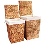 KMH®, 2er Set Wäschekörbe aus Wasserhyazinthe - Farbe: Natur (#204023)