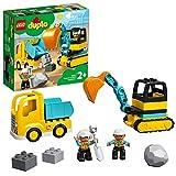 LEGO 10931 DUPLO Bagger und Laster Baufahrzeug Spielzeugset für Kleinkinder ab 2 Jahren