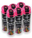 HaWe Profi Markierspray Patentiert Hohe Deckkraft Schnelltrocknend Neon 500 ml (6 Dosen Neonpink)