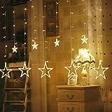 Hengda LED Lichtervorhang, Sterne Lichterkette, Warmweiß LED String Licht mit 8 Modi Dimmbar, 138 LEDs Lichterkettenvorhang, IP44 Wasserfest für Kinderzimmer, Weihnachten, Party, Hochzeit, Garten DIY