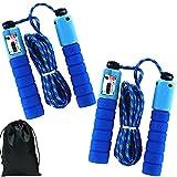 2 Stück Jump Rope mit Zähler, Seilspringen für Kinder 6Jahre Verstellbarer Länge Baumwolle Fitness Springseil damen die Muskelspannung Ihres Gesamten Körpers Verbessern (2.5m Länge/Blau)