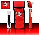 Focus World Professionelles Mini-Otoskop aus Glasfaser, für medizinische Diagnosen und Untersuchungen, mit 10 Ohraufsätzen, Rot